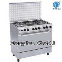 Cooking range oven with Enamelled pan support