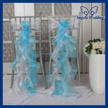 CH098A New 2015 wholesale Nice cheap organza wedding ruffled curly willow blue and white chair sash