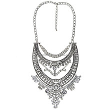 WLXL-1018 Small Order Factory Wholesale Yiwu Hot-selling Fashion China Folk Handicrafts Vintage Golden Silver Ethnic Necklace