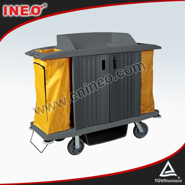 Plastic hotel room service housekeeping cart janitorial for Hotel room service cart