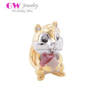 18K Gold Plating Squirrel Model 925 Sterling Silver Wholesale Charms