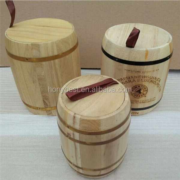 Display Wood Coffe Bean Barrel,Wood Bucket with Silk Handle and Hoop HY1171.jpg