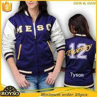Custom Logo American Youth size Kid Women Letterman Plain Varsity Baseball Jacket Wholesale Blank Jackets with Leather Sleeves