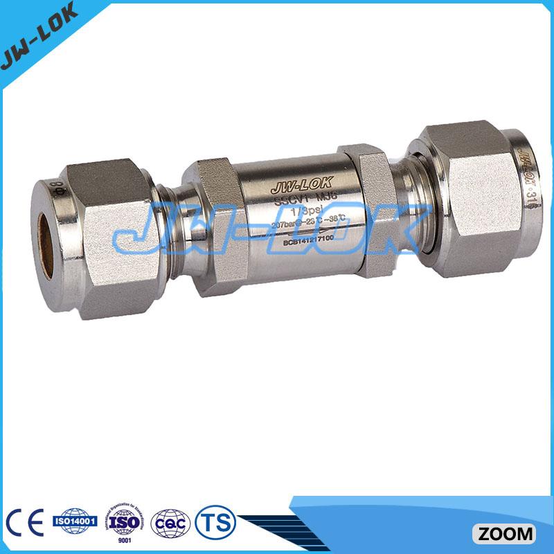 1/4 ''3/8'' 1/2 ''de compresión virola válvula de retención con casquillo de montaje