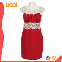 New Design OEM Charming Sleeveless Beaded Lace Appliqued dress