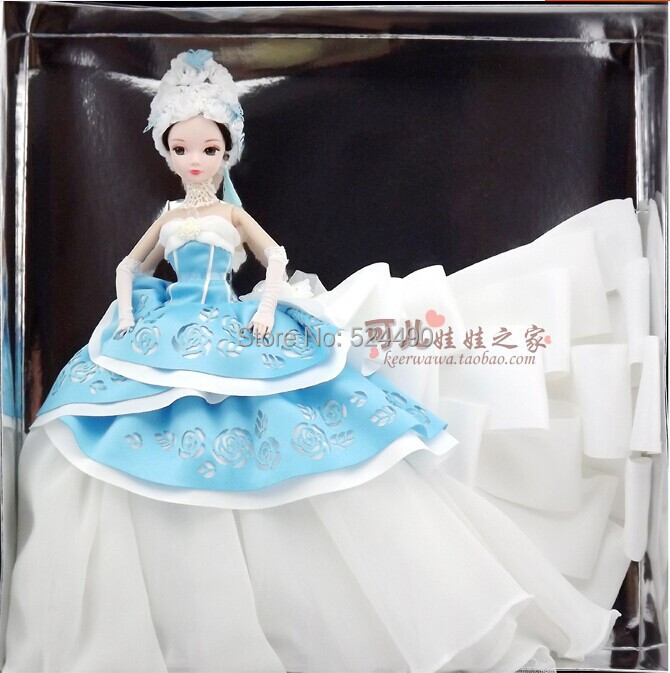 Top Quality Genuine Original 10 jointed moveable Kurhn Doll Blue Wedding Dress Rose Butterfly Hat Glove Set for Barbie Doll Gift