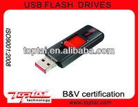 8GB Black with Red Decoration Rectangle Push and Pull Retractor Imprinting Logo Plastic Thumb Drive