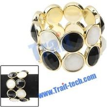 Jóias da moda preto e pulseira de pedras preciosas branco lady ornamento elegante bangle