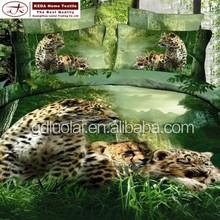 2015 lastest new design 3d animal printed bedding set exported polyester leopard printed comforter bedding sets