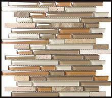 random strip glass mosaic tile mix stone