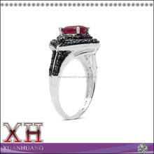 Hot Model Sterling Silver Ruby and Black Spinel Ring Wholesale Price