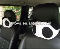 stuffed fur panda car seat cushion&neck pillow set