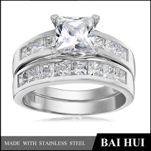 Radiant CZ 316 Stainless Steel Wedding Engagement Ring Band Set Sizes 4 to 14/Wholesale Fashion Wedding Ring Sets