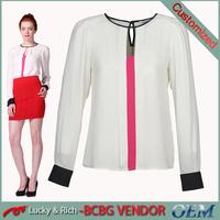Wholesale elegant summer long sleeves silk blouse