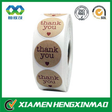 Elegant kraft paper thank you seal /siticker/adhesive label in roll