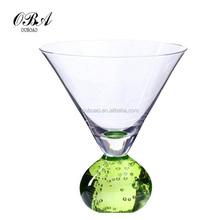 Green Crystal Bubble Ball Base Martini Glass,Unbreakable Unusual Drinking Glasses ,Martini Glass Ware