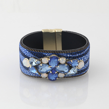 2015 Best selling funky dark blue snake skin pattern crystal flower leather bangles with magnetic clasp
