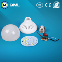 2015 china supplier raw material 3w-12w e27 b22 led light bulb components