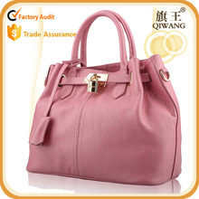 Hot sell popular classic ladies leather pink tote bag