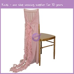 19869 new style wedding decoration cheap fancy blush pink bridal chair cover and chair sash