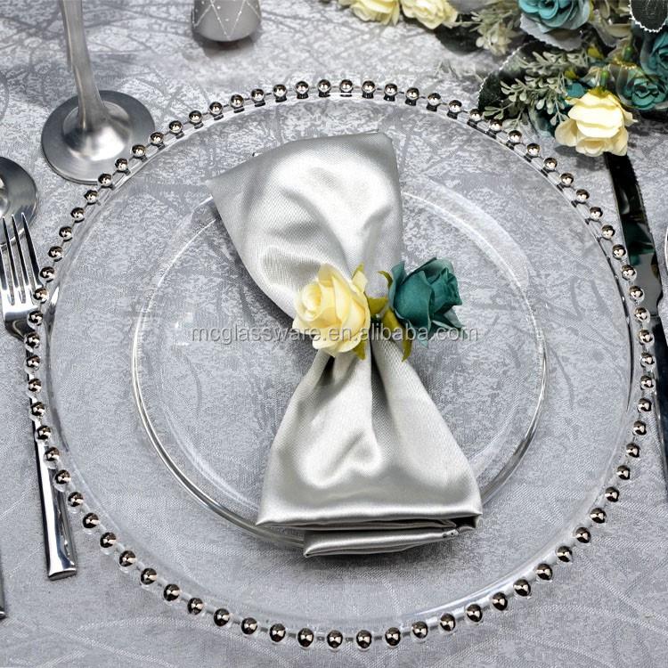 Pas cher de mari e en gros or argent perles de verre plaques de chargeur couverts et assiettes - Assiette pas cher en gros ...