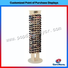 New style wooden floor standing sunglasses display stand