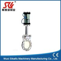 China Manufature 316 stainless steel knife gate valve with pneumatic actuator