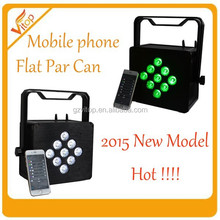 2015 new home party disco lighting control by cellphone mobile battery led par