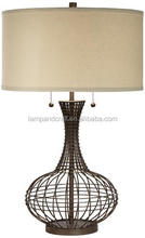 Wholesale decorative industrial table lamps with weave rattan lampstand and cylinder shade for home decor