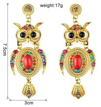 2015 new design alloy fashion owl earring alloy