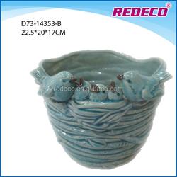 Glazed porcelain cup shape garden bird flowerpot