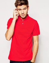 high quailty breathable pique fabric red branded men polo shirt
