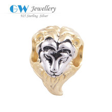 Wholesale Spacer And Beads Gold Crystal Beads 925 Silver Lion Gold Plated Silver Charm YZ411