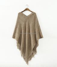 New women's clothing of 2014 autumn winters v-neck wavy lines tassel splicing cloak shawl sweater