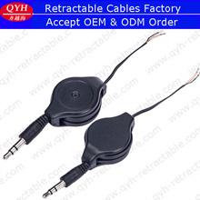 Semi terminados macho a cable abierto de dos vías retráctil 3.5 mm jack cable de alimentación 0.8 medidor
