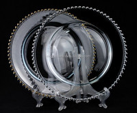 13 inch Cheap Wholesale Elegant Crystal Clear beaded charger plate
