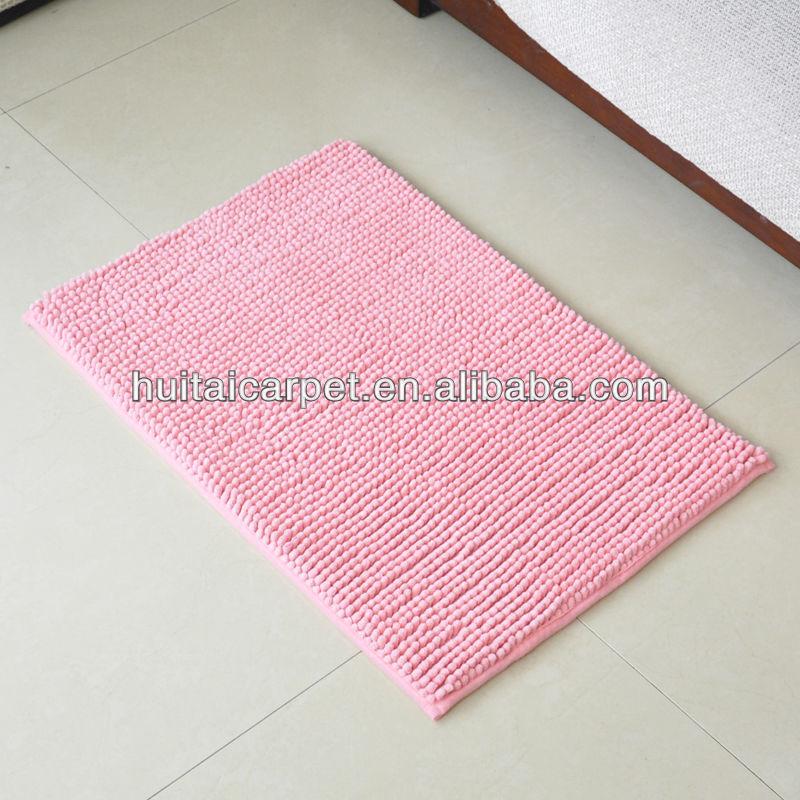 kurzflorige badematte rosa farbe chenille fußmatte teppich