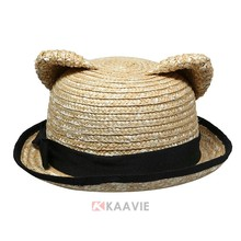 Custom Animal Bear Ears Design Kids Girls Summer Beach Straw Sunhat cap