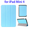 Hign quality 3-folding Horizontal leather stand case for ipad mini 4 cover
