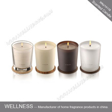 different color glass wooden lid scented candle