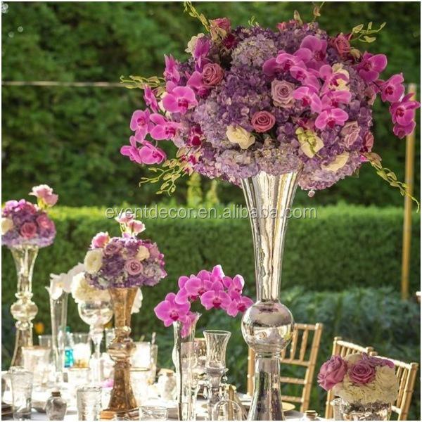 Silver Vase And Flower Centerpieceglass Trumpet Vase For Weddings