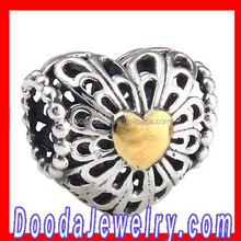 Antique Sterling Silver Heart Charm with Gold Plated Heart Charm Hot Selling