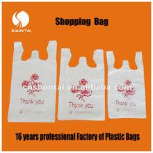 China manufacturer HDPE plastic shopping vest carrier handle plastic bag