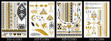 Best make up fashion jewelry 2015 fake gold tattoo sticker\ temporary flash tattoo stickers