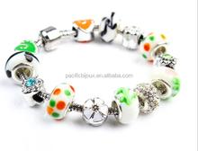 pacific bijoux wholesale girls beautiful pattern glaze beaded charm bracelet