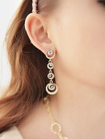 Fashion Korean style high quality long water fringed with drill moon personality earrings