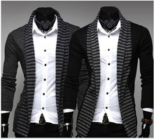 MOQ 1pc slim tight spring cotton and polyester mixed men knitted cardigan turn-down collar sweater