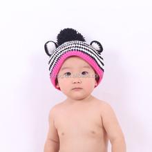 cute crochet beanie hat with braid top ball