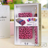 Leopard print Rose color leather case for samsung galaxy note2 N7100