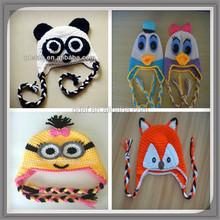 300 Styles childrens crochet fox hats cotton baby minion beanie duck cap crochet animal panda hat